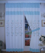 A Pair of Brushed Microfiber with Embroidery Window Curtains / Drapes / Panels with Sheer Lining Set 300cm x 210cm (Wxh)