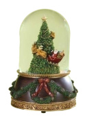 """Santa in Sleigh with Reindeer Flying Around Christmas Tree Musical Snow Globe Glitterdome - 8"""" Tall 120MM - Plays Tune Santa Claus is Coming to Town"""