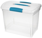 Sterilite 18768606 Clear Nesting Showoffs Box with Blue Aquarium Handle and Latches, Large, 6-Pack