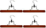 Honey-Can-Do HNG-01222 Wooden Pant Hanger with Clamp, 4-Pack, Cherry