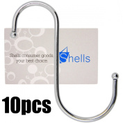 Shells® 10 Pack 10cm Silver Colour S Shaped Metal Hooks Hangers For Home, Kitchen and Garage