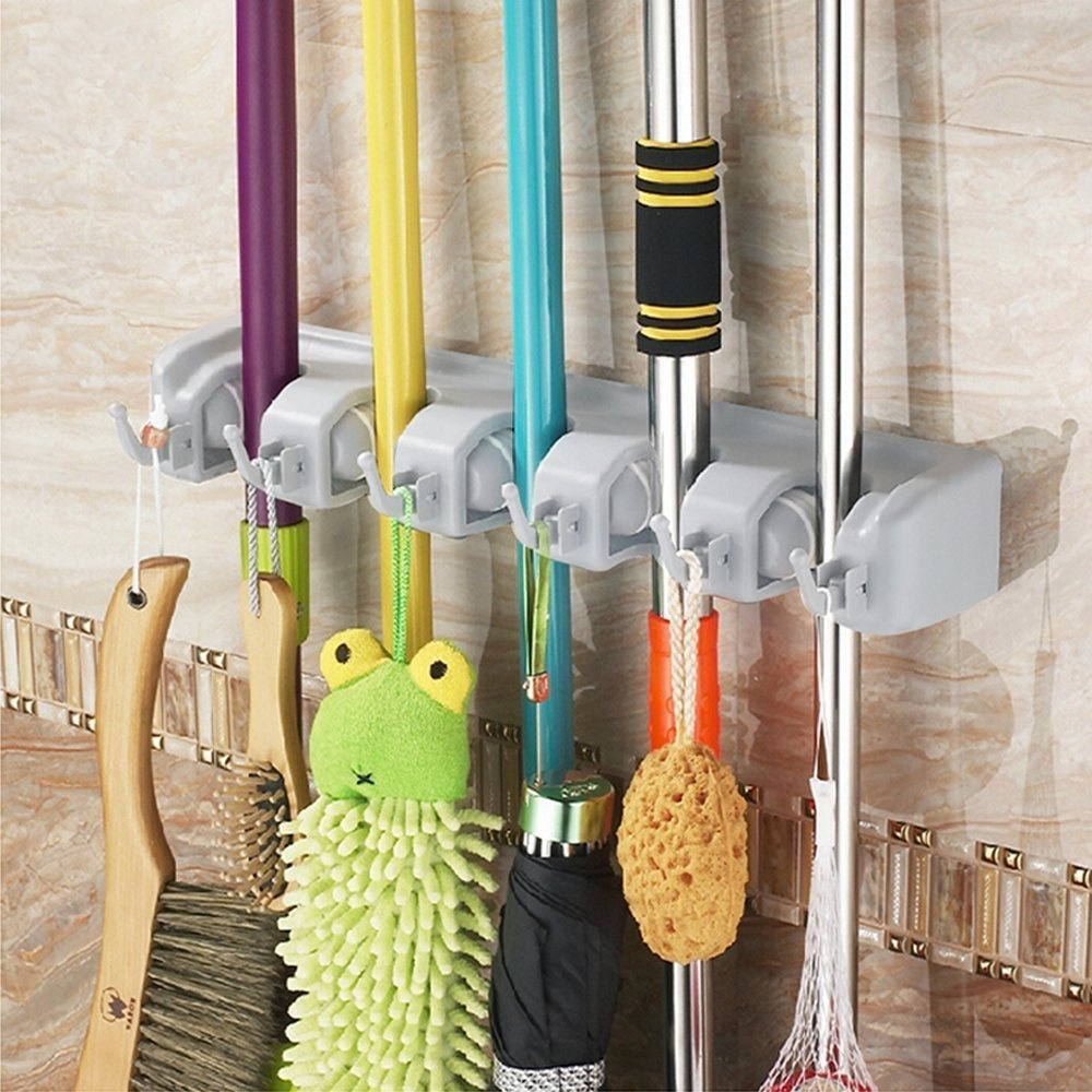 UniqueVC® Mop and Broom Magic Holder Wall Organiser With 5 Ball Slots and 6  Hooks - Compact & Clean Design Wall Mounted Garden Tool Storage Tool Rack