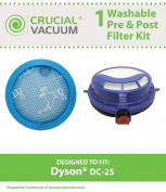 Dyson DC25 Washable & Reusable Pre & Post Filter Replacement Kit Designed To Fit Dyson DC25 Uprights. Part # 916188-05, 914790-01; Designed & Engineered By Crucial Vacuum