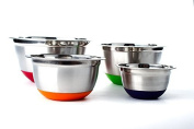 Stainless Steel German Mixing Bowl 4 Pc set w/ Non-Skid Silicone Base