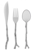 Creative Converting 0134183 12 Count Madhouse Translucent Assorted Twig Design Cutlery, Grey