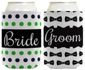 Wedding Coolie Bride Groom Marriage Bowtie Polka Dots Bridal Shower Gift 2 Pack Can Coolie Drink Coolers Coolies Premium Full Colour