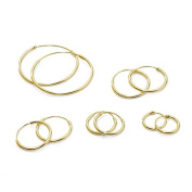 5 Pair Set Sterling Silver Gold Plated Endless Hoop Earrings Cartilage, Nose or Lips, 10 12 14 16 & 24mm