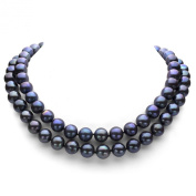 """Sterling Silver 11-12mm Dyed Black Freshwater Cultured Pearl Ball-clasp Necklace, 36"""""""