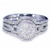 0.4ct Diamond Bridal Wedding Ring Set 10K White Gold 11mm Wide Woven Sides