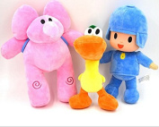 Catchvogue 3pcs Plush 28cm Pocoyo,Pato,Elly Cartoon Stuffed Plush Toys