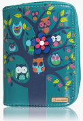 KukuBird Owl Tree feature embroidery detail Pattern Medium Size Ladies Purse Clutch Wallet
