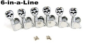 6pc set of Chrome SKULL 6-in-a-Line Guitar Tuners/Machine Heads