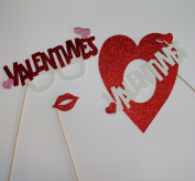 Valentines Heart Centre Pieces Photo Booth Props Table Decorations Valentines Glasses Lips Heart