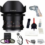 """Rokinon DS 14mm T3.1 Full Frame Cine Lens for Canon EF +UV,Polarizer ,FLD 3 piece Kit + Giottos Large Cleaning Kit with Small Rocket Blaster + White Balance Card Set 2 x 3, Lens Cap, Op/Tech Rainsleeve-Flash 14"""" & Cleaning Cloth"""