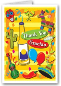 Fiesta Thank You Note Card - 10 Boxed Cards & Envelopes