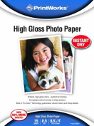 Printworks High Gloss Photo Paper, 8.5 Mil, Inkjet, 15 Sheets, 22cm x 28cm