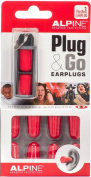 Alpine Plug & Go Disposable Noise Cancelling Ear Plugs, Pack of 10 ear plugs, Red