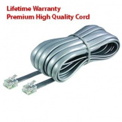 Premium High Quality Telephone Line Cord Heavy Duty Lifetime Warranty Silver Satin 4 Conductor 7.6m by TeleDirect