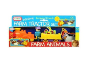 Funtime Pull Along Farm Tractor and Animal Set Baby Toy  .  s+