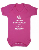 Purple Penguin Clothing Baby Grow - Daddy Stay Calm and Call Mummy