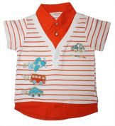 Boys Children's Polo Shirt with ABC appliqué with vehicles, aircraft, Car and Bus in orange