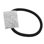 Silver Plated Crystal Rhinestone Hair Tie Band Ponytail Holder For Lady Girls