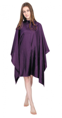 Purple Crinkle Fabric Hairdressing Hair Cape Without Sleeves & Stud Fastening Adjustable Collar