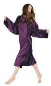 Purple Crinkle Fabric Hairdressing Hair Gown With Sleeves & Stud Fastening Adjustable Collar