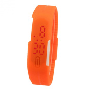 2015 Fashion Sport LED Watches Candy Colour Silicone Rubber Touch Screen Digital Watches, Electronic Bracelet Watches, orange