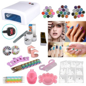 Hot 36W White UV Lamp Gel Polish Curing Dryer Light + Acrylic Nail Art Kit Set