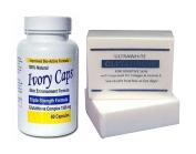 Ivory Caps Skin Whitening/ Lightening Pills 1500mg +Premium Glutathione Soap Lightening Whitening Bar with Vitamin C Grape seed GC1