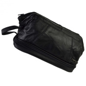 Mens Black Quality Leather WASH BAG by Metro Travel Toiletries 2 Sections