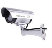 BW Outdoor Indoor Fake Dummy Imitation CCTV Security Camera W/ Blinking Flashing Light Bullet Shape Silver