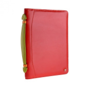 Multicolour leather briefcase holder with iPad pocket by DUDU Red