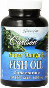 Carlson Labs Super Omega-3 Gems, Fish Oil Concentrate, 1000mg, 100 Softgels