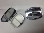 Mazda MX 5 (Miata) LHD ref122 pewter effect car emblem on travel silver rectangular metal pill box