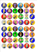 48 x Minions cake toppers printed on icing