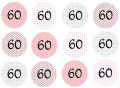 VINTAGE 60th BIRTHDAY PARTY CUP CAKE CUPCAKE TOPPERS EDIBLE RICE PAPER ICING DECORATION