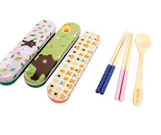 Wooden Bamboo Spoon and Chopstick Set with Metal Carrying Case by Express Panda®