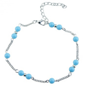 Sanwood Womens Turquoise Beads Infinity Alloy Anklet Bracelet Foot Chain
