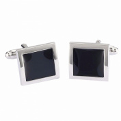 Black Square-Shaped Geometric Men's Business Party Wedding Cufflinks Cuff Link