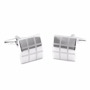 Silver Plated Square-Shaped Geometric Fashion Men Business Affair Cufflinks