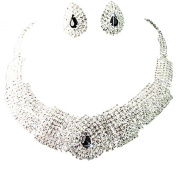 Sanwood Wedding Party Bridal Black Crystal Necklace Earrings Set Jewellery