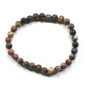 Leopard Print Stone Ball Bracelet (Rhyolite) 6 mm