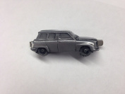 Saab 96 V4 ref220 pewter effect car emblem on a Tie Clip (slide) Handmade in sheffield comes with PrideInDetails gift box