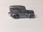 Land Rover Defender ref115 pewter effect emblem on a Tie Clip 4cm Handmade in sheffield comes with PrideInDetails gift box
