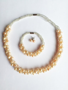 High Quality Freshwater Natural Pearl Handmade Necklace Bracelet & Earring Set - Peach