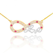 """Little Treasures - 14 ct Two-Tone Gold Ruby Infinity """"Love"""" Script Necklace with Diamonds"""