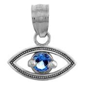 Little Treasures - Silver Sapphire Evil Eye Pendant