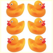 6 Mini Rubber Plastic Bathtime Ducks - Fun Bath Time Toys